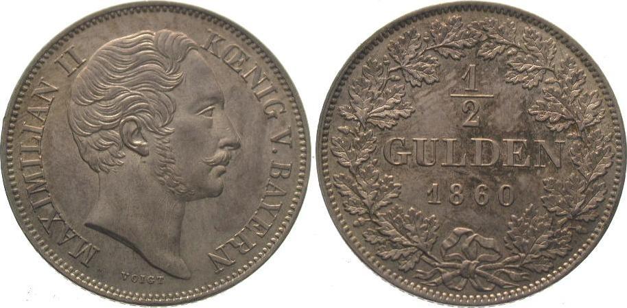 1/2 Gulden 1860 Bayern Maximilian II. Joseph 1848-1864. Winz. Kratzer, vorzüglich - Stempelglanz