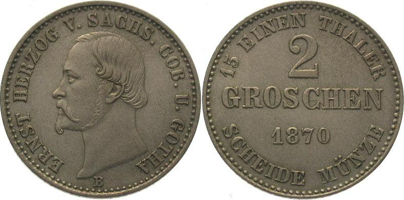 2 Groschen 1870 B Sachsen-Coburg-Gotha Ernst II. 1844-1893. Vorzüglich +