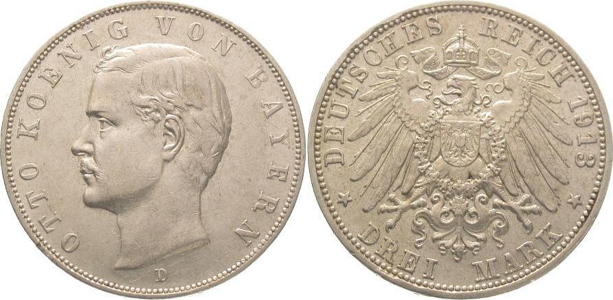 3 Mark 1913 D Bayern Otto 1886-1913. Vorzüglich