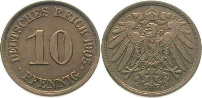 10 Pfennig 1905 A Kleinmünzen Fast Stempelglanz