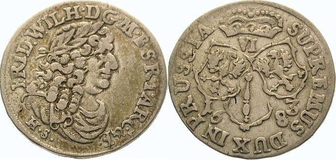 6 Gröscher 1 1683 HS Brandenburg-Preußen Friedrich Wilhelm 1640-1688. Sehr schön +