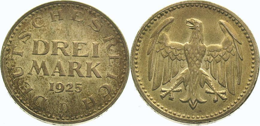 3 Mark 1925 D Weimarer Republik Schöne Patina. Fast Stempelglanz
