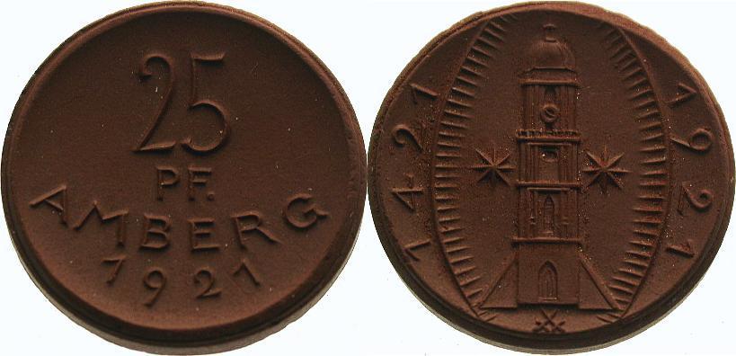 25 Pfennig 1921 Reichsmünzen und Ausgaben der Städte Amberg Prägefrisch