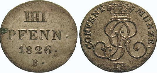4 Pfennig 1826 B Braunschweig-Calenberg-Hannover Georg IV. 1820-1830. Vorzüglich