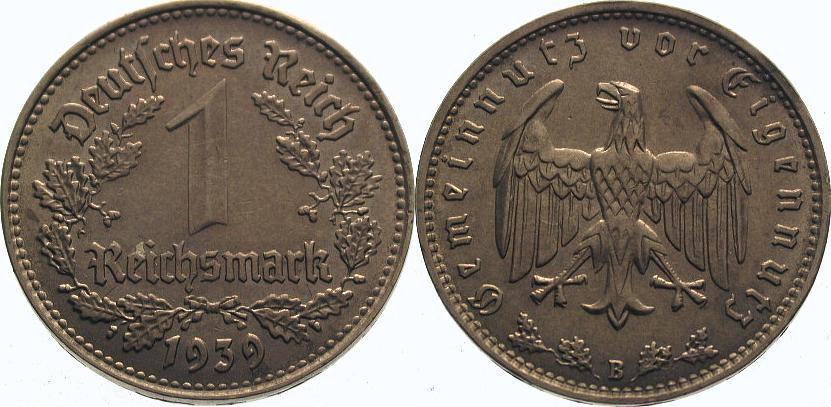 1 Mark 1939 B Drittes Reich Vorzüglich