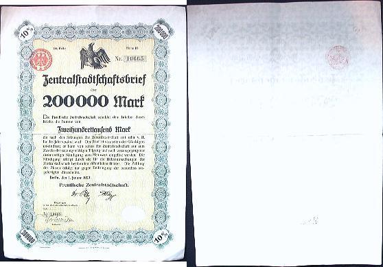 200000 Mark 1923 Weimarer Republik Gebraucht, ein Knick