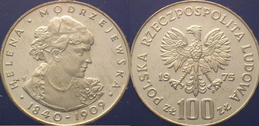 100 Zloty 1975 Polen Republik Polen. Polierte Platte. Stempelglanz