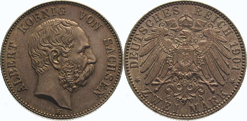 2 Mark 1901 E Sachsen Albert 1873-1902. Schöne Patina. Fast Stempelglanz