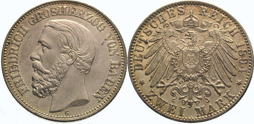 2 Mark 1894 G Baden Friedrich I. 1856-1907. Vorzüglich +