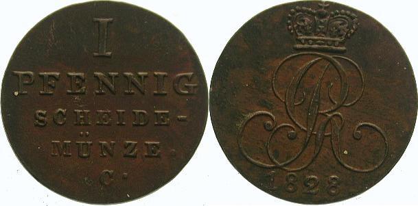 Cu Pfennig 1828 C Braunschweig-Calenberg-Hannover Georg IV. 1820-1830. Vorzüglich