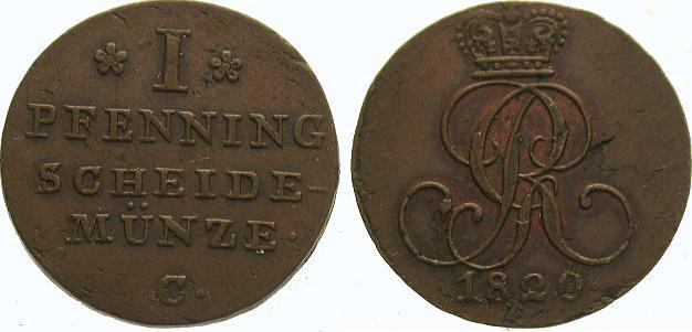 Cu Pfennig 1820 C Braunschweig-Calenberg-Hannover Georg III. 1760-1820. Winz. Schrötlingsfehler, sehr schön - vorzüglich