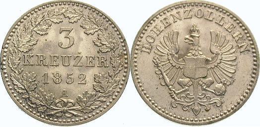 3 Kreuzer 1852 A Brandenburg-Preußen Friedrich Wilhelm IV. 1840-1861. Fast Stempelglanz