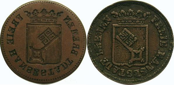 Cu 1/2 Groten 1841 Bremen, Stadt Sehr selten. Fast sehr schön / sehr schön