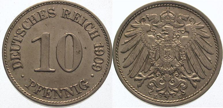 10 Pfennig 1909 E Kleinmünzen Vorzüglich - Stempelglanz