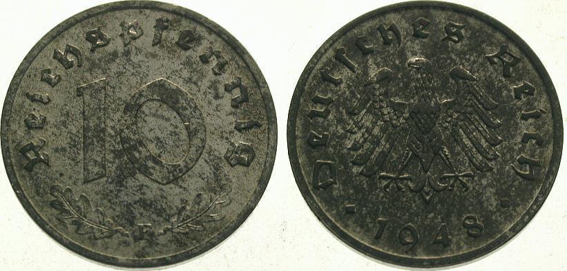 10 Pfennig 1948 F Alliierte Besetzung Vorzüglich +