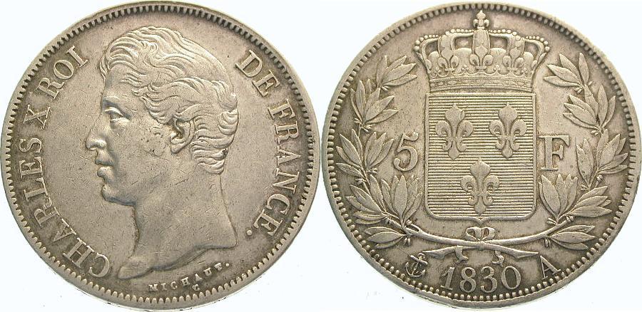 5 Francs 1830 A Frankreich Charles X. 1824-1830. Sehr schön - vorzüglich