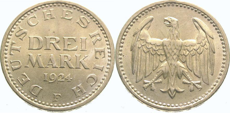 3 Mark 1924 F Weimarer Republik Vorzüglich - Stempelglanz