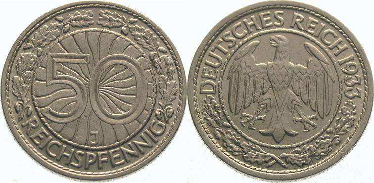50 Pfennig 1933 J Weimarer Republik Vorzüglich - Stempelglanz