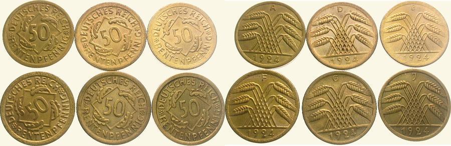 LOT: 50 Rentenpfennig 1924 A Weimarer Republik Vorzüglich - Stempelglanz und besser