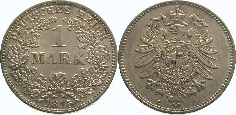 1 Mark 1875 C Kleinmünzen Fast Stempelglanz