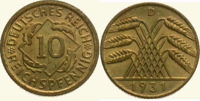 10 Pfennig 1931 D Weimarer Republik Fast Stempelglanz
