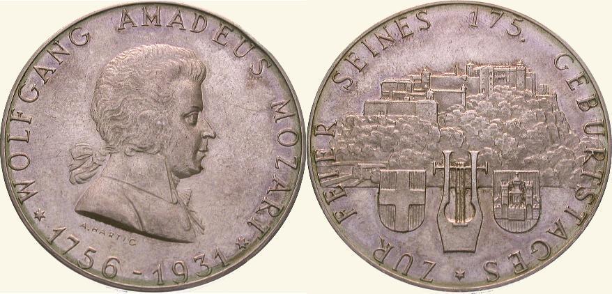Medaille 1931 Personenmedaillen Mozart, Wolfgang Amadeus * 27.1.1756 in Salzburg, + 5.12.1791 Wien, Komponist. Vorzüglich