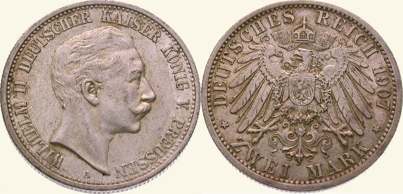 2 Mark 1907 A Preußen Wilhelm II. 1888-1918. Vorzüglich - Stempelglanz
