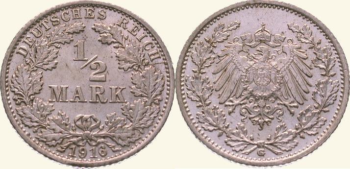 1/2 Mark 1916 G Kleinmünzen Fast Stempelglanz