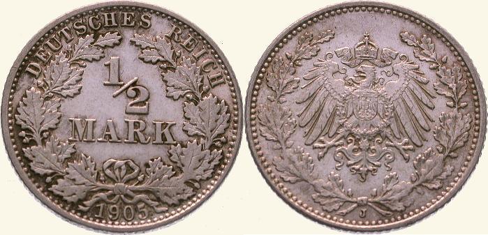 1/2 Mark 1905 J Kleinmünzen Fast Stempelglanz