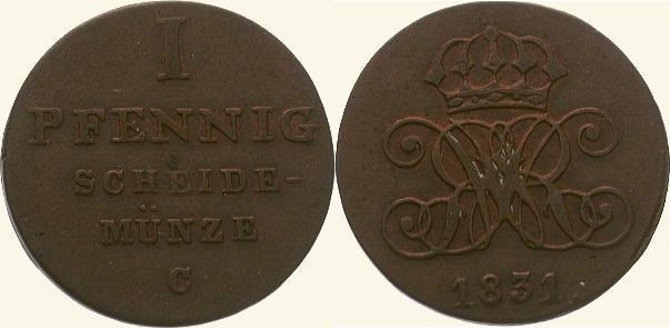 Cu Pfennig 1831 C Braunschweig-Calenberg-Hannover Wilhelm IV. 1830-1837. Sehr schön - vorzüglich
