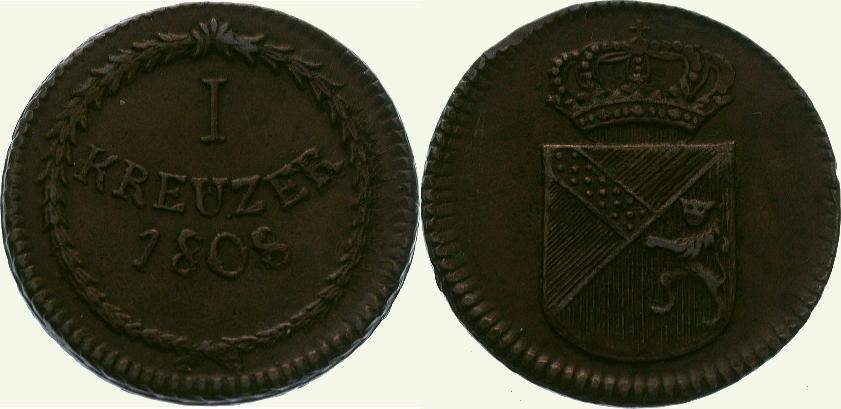 Cu Kreuzer 1808 Baden-Durlach Karl Friedrich 1806-1811. Sehr schön - vorzüglich