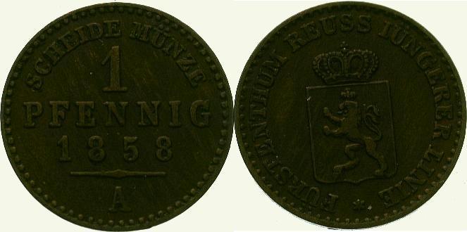 Cu Pfennig 1858 A Reuss, jüngere Linie zu Schleiz Heinrich LXVII. 1854-1867. Sehr schön - vorzüglich