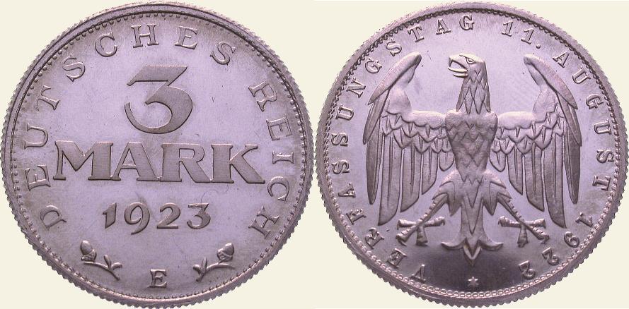 3 Mark 1923 E Weimarer Republik Polierte Platte. Fast Stempelglanz