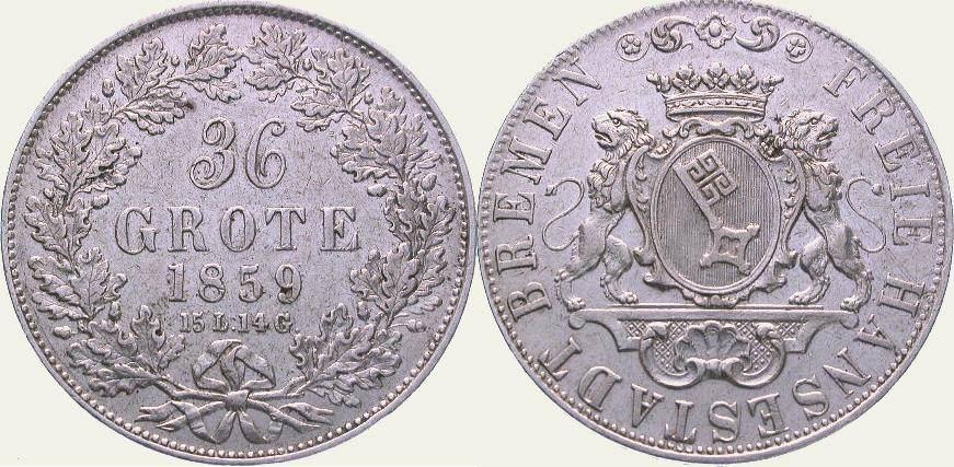 36 Grote 1859 Bremen, Stadt Sehr schön +
