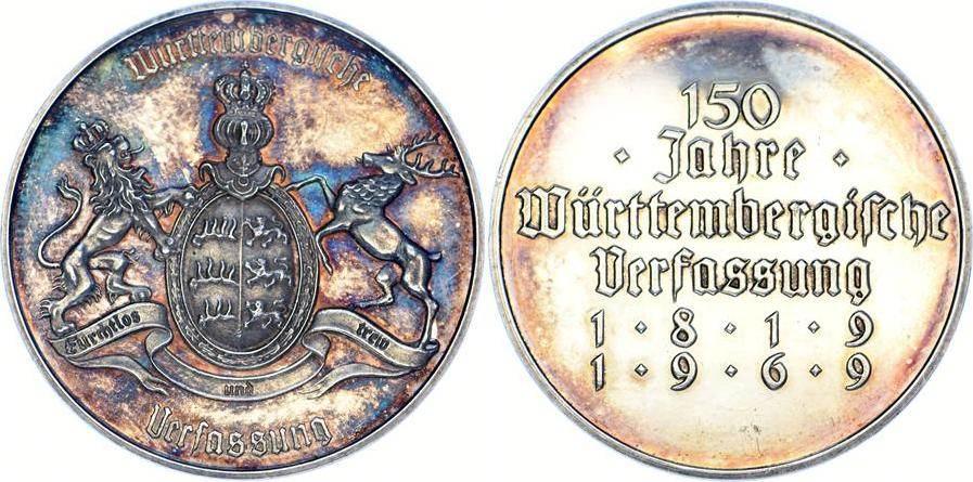 Medaille 1969 Württemberg Freistaat. Schöne Patina. Polierte Platte. Fast Stempelglanz