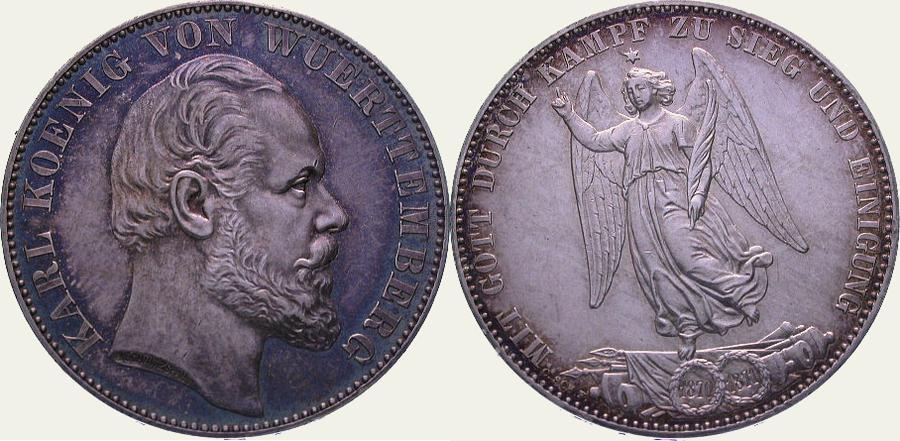Siegestaler 1871 Württemberg Karl 1864-1891. Schöne Patina. Vorzüglich - Stempelglanz
