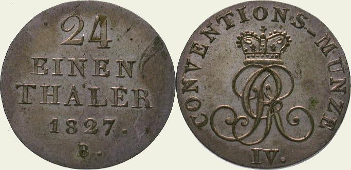 1/24 Taler 1827 B Braunschweig-Calenberg-Hannover Georg IV. 1820-1830. Vorzüglich - Stempelglanz