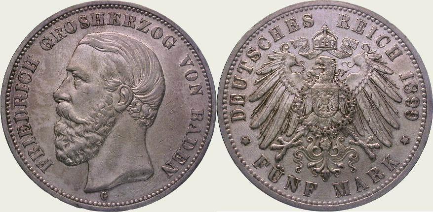 5 Mark 1899 G Baden Friedrich I. 1856-1907. Sehr schön - vorzüglich
