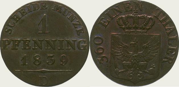 Cu Pfennig 1839 D Brandenburg-Preußen Friedrich Wilhelm III. 1797-1840. Schöne Kupferpatina. Fast Stempelglanz