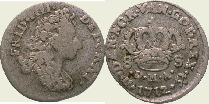 8 Schilling 1712 Dänemark Frederik IV. 1699-1730. Schön-sehr schön / sehr schön