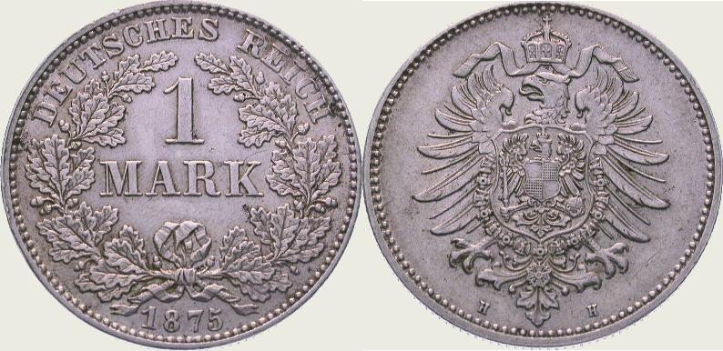 1 Mark 1875 H Kleinmünzen Vorzüglich