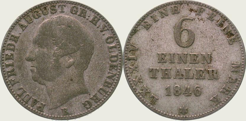 1/6 Taler 1846 Oldenburg Paul Friedrich August 1829-1853. Sehr schön