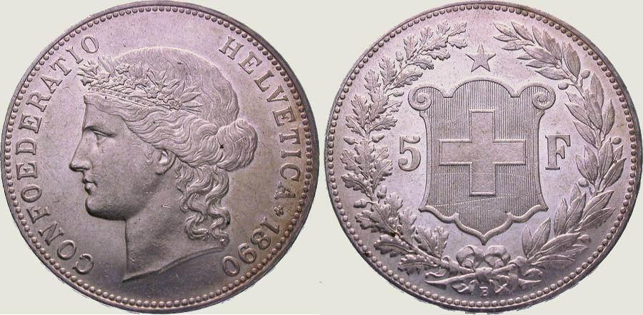 5 Franken 1890 B Schweiz-Eidgenossenschaft Winz. Kratzer, vorzüglich - Stempelglanz
