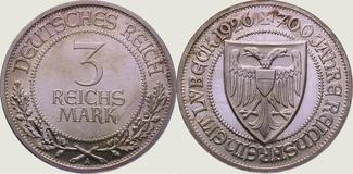 3 Mark 1926  A Weimarer Republik  Polierte Platte. Fast Stempelglanz