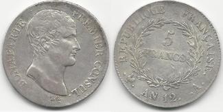 5 Francs An 12 A France Bonaparte premier Consul P.TTB