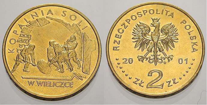2 Zlote (Kopalnia) 2001 Polen-Republik 1990 bis Heute Republik Polen seit 1990. Unzirkuliert
