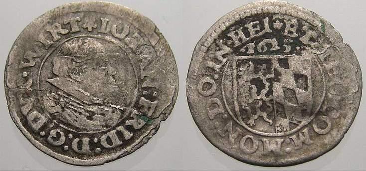 Kreuzer 1625 Württemberg Johann Friedrich 1608-1628. Selten. Leicht gewellt, fast sehr schön