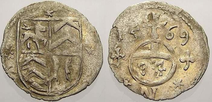 Körtling (1/84 Taler) 1 1569 N Stolberg Ludwig II. allein 1535-1574. Sehr schön