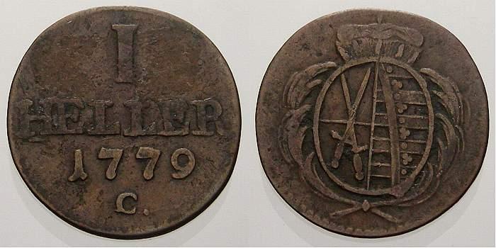 1 Heller 1779 C Sachsen-Albertinische Linie Friedrich August III. 1763-1806. Sehr schön+