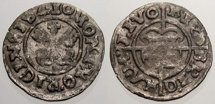 Schilling 1541 Livländischer Orden Hermann von Brüggeney 1535-1549. Sehr schön+